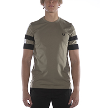 T-SHIRT FRED PERRY BOLD TIPPED VERDE MILITARE