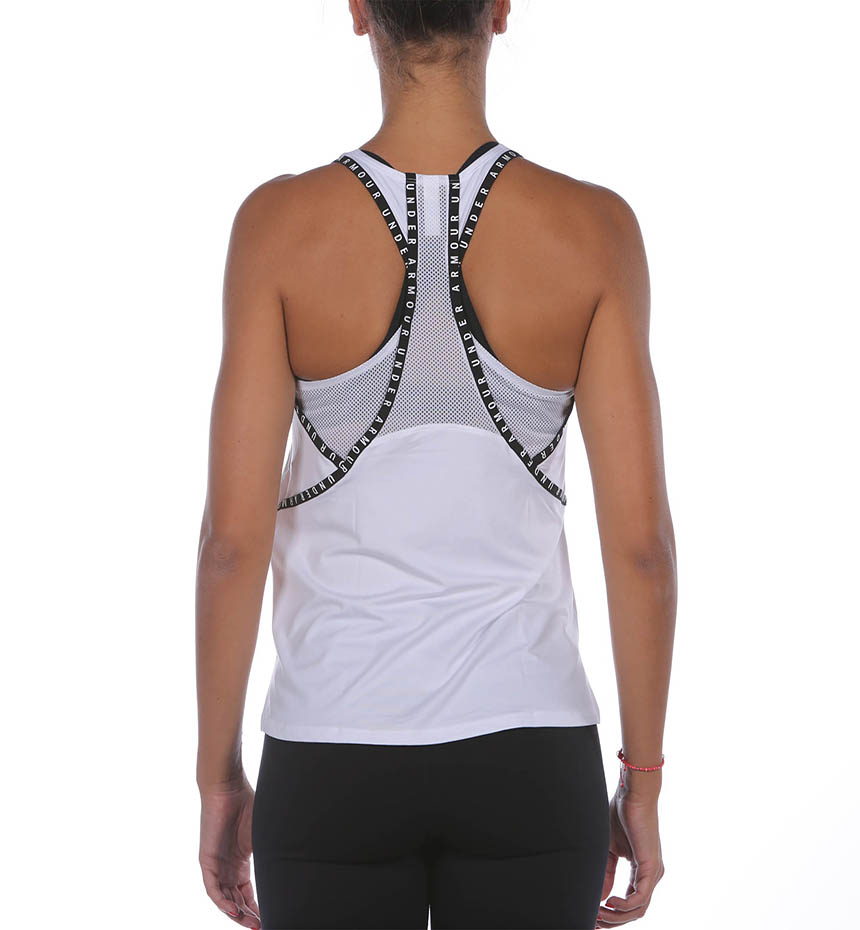 CANOTTA UNDER ARMOUR GEO KNOCK OUT TANK BIANCO