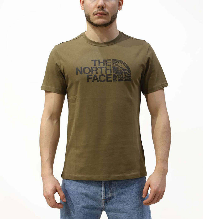 T-SHIRT THE NORTH FACE M S/S WOODCUT DOME TEE VERDE MILITARE