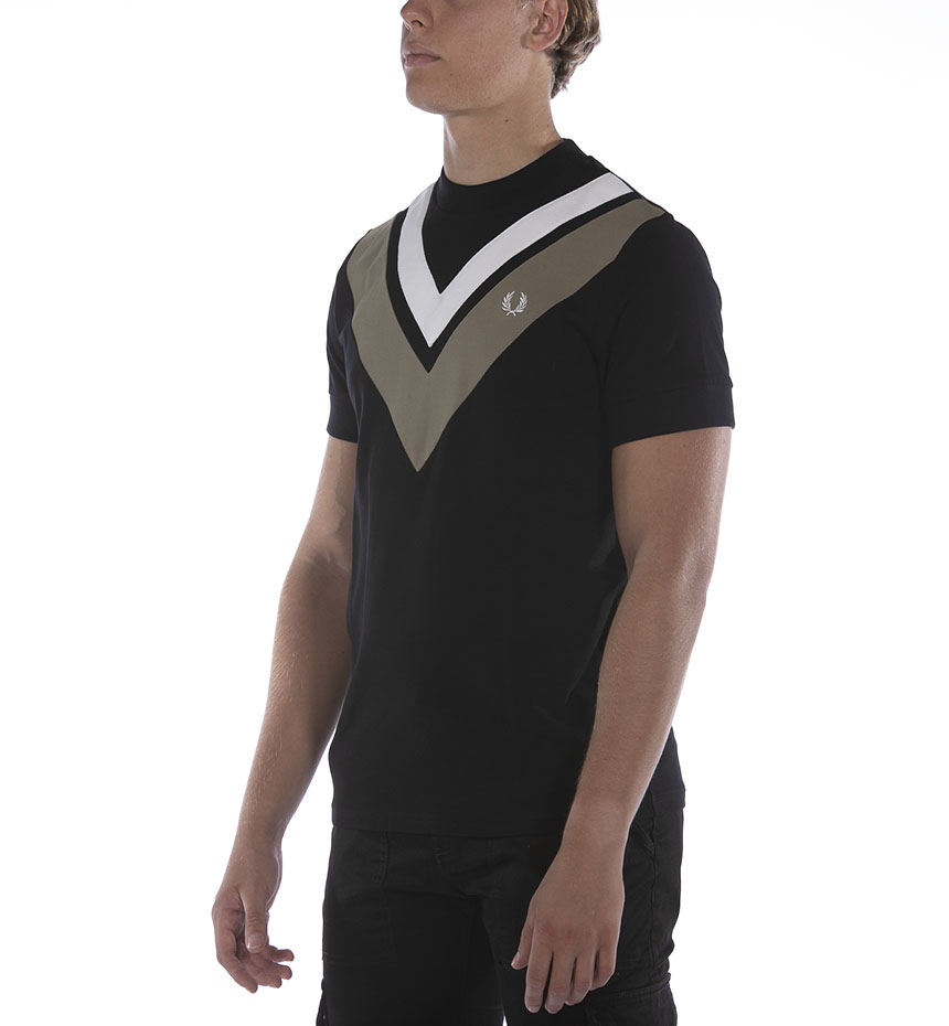T-SHIRT FRED PERRY FP V-PANEL NERO