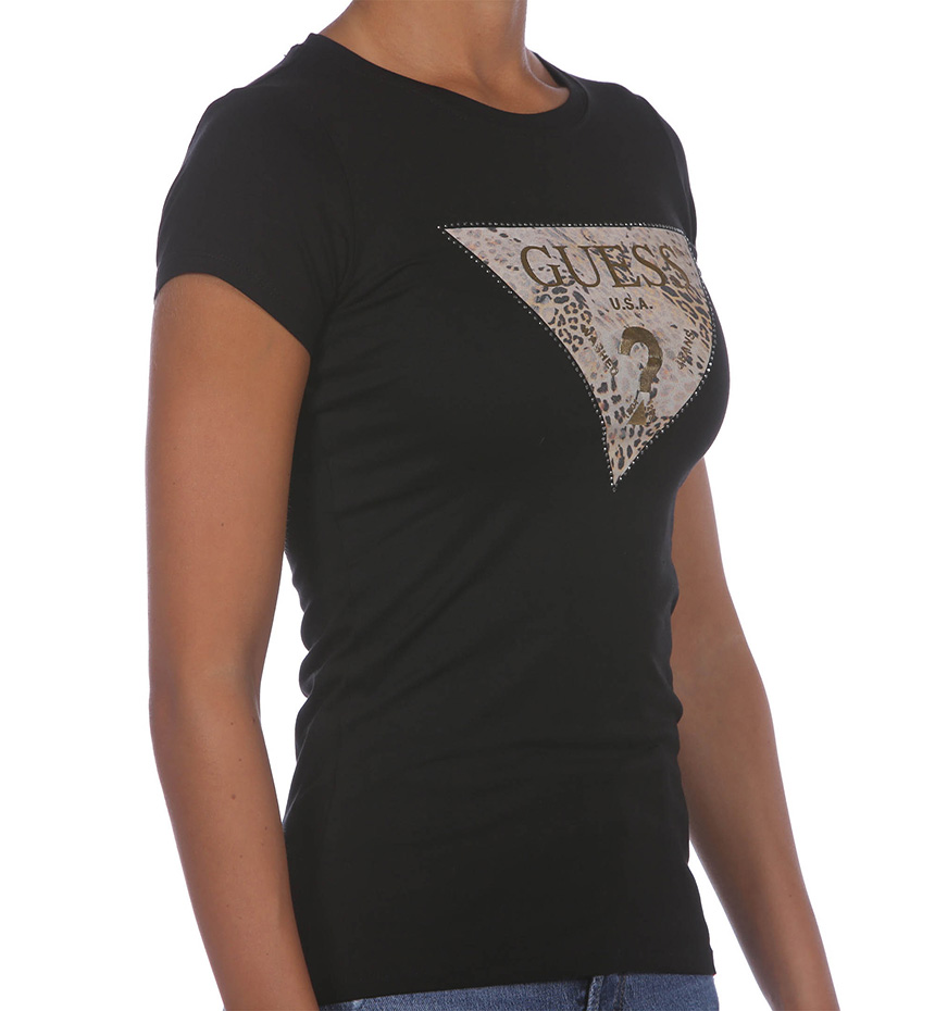 T-SHIRT GUESS SS GHOST LEOPARD LOGO R3 NERO