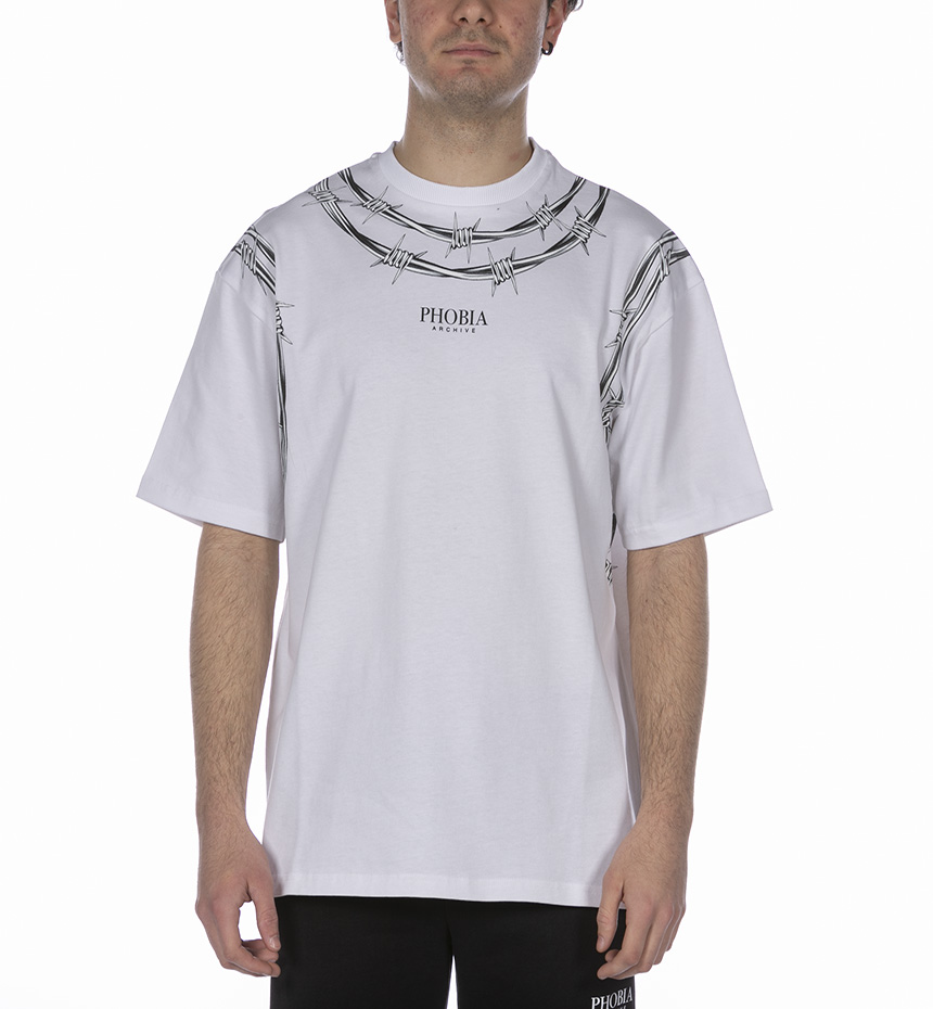 TSHIRT WITH BARBED WIRE BIANCO