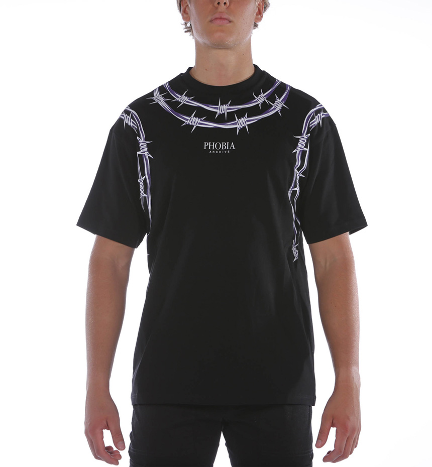 T-SHIRT WITH PURPLE BARBED WIRE NERO