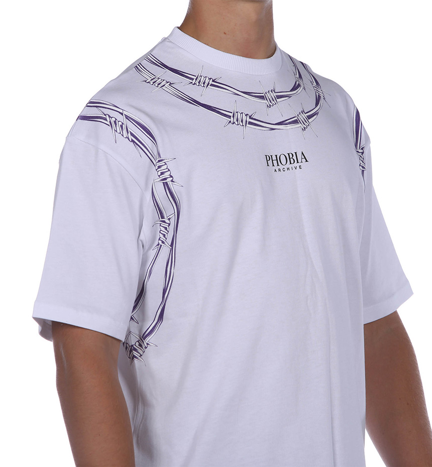 TSHIRT WITH PURPLE BARBED WIRE BIANCO